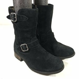 Womens UGG Chaney 8.5 Black Suede Zip Buckle Boots